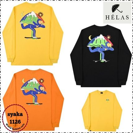 HELAS Long Sleeve Crew Neck Pullovers Unisex Street Style Long Sleeves Cotton