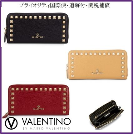 Studded Plain Leather Long Wallets