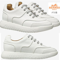 HERMES Round Toe Casual Style Plain Leather Low-Top Sneakers