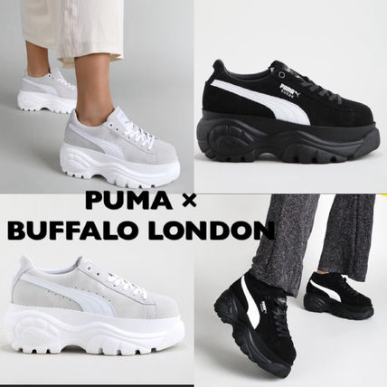 Platform Casual Style Suede Blended Fabrics Street Style
