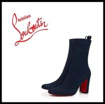 Christian Louboutin Suede Plain Elegant Style Ankle & Booties Boots