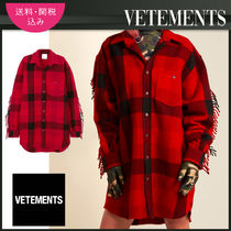 VETEMENTS Tartan Casual Style Unisex Wool Long Sleeves Long Fringes