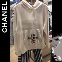 CHANEL ICON Cashmere Long Sleeves Plain Cashmere