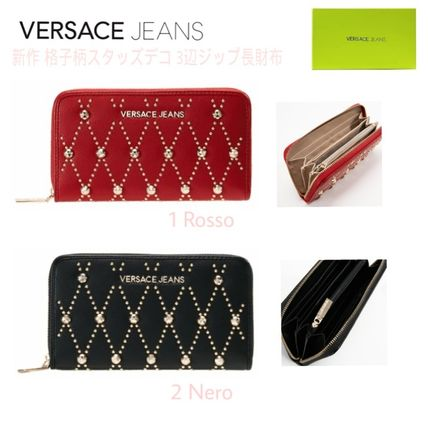 Zigzag Faux Fur Blended Fabrics Studded Long Wallets