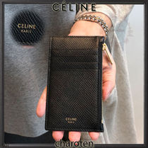 CELINE Unisex Calfskin Plain Card Holders