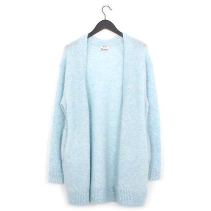 Casual Style Wool Long Sleeves Plain Long Oversized