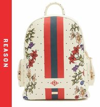 REASON Flower Patterns Dots Faux Fur Street Style Backpacks