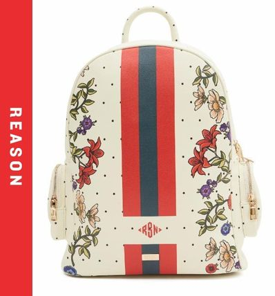 Flower Patterns Dots Faux Fur Street Style Backpacks