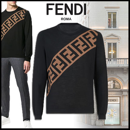 FENDI Knits & Sweaters Crew Neck Pullovers Monogram Wool Long Sleeves