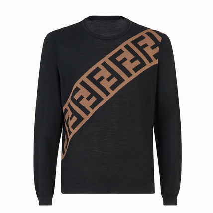 FENDI Knits & Sweaters Crew Neck Pullovers Monogram Wool Long Sleeves 2