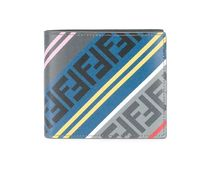 FENDI FOREVER Stripes Unisex Calfskin Street Style Folding Wallets