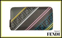 FENDI FOREVER Unisex Street Style Leather Long Wallets