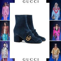 GUCCI Suede Plain Block Heels Elegant Style Ankle & Booties Boots