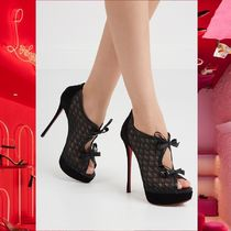 Christian Louboutin Open Toe Platform Leather Elegant Style