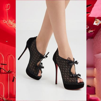 buy popular c4dab c93b7 Christian Louboutin Open Toe Platform Leather Elegant Style