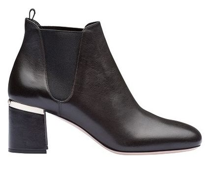 MiuMiu Ankle & Booties Blended Fabrics Bi-color Plain Leather Block Heels 3