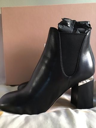 MiuMiu Ankle & Booties Blended Fabrics Bi-color Plain Leather Block Heels 2