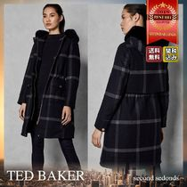 TED BAKER Other Check Patterns Wool Blended Fabrics Long Elegant Style