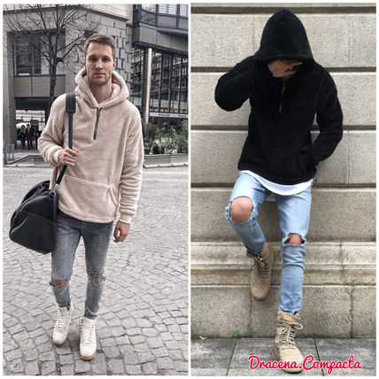 Pullovers Street Style Long Sleeves Plain Hoodies