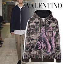 VALENTINO Camouflage Unisex Sweat Long Sleeves Handmade With Jewels