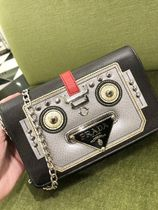 PRADA Casual Style Chain Leather Shoulder Bags