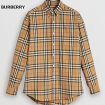 Burberry Street Style Long Sleeves Cotton Oversized Shirts