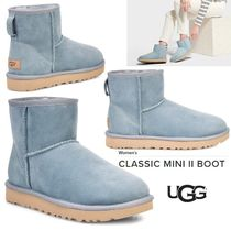 UGG Australia CLASSIC MINI Round Toe Sheepskin Plain Ankle & Booties Boots