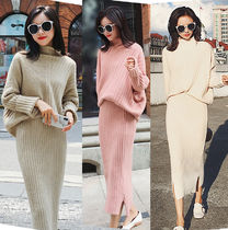 Stripes Casual Style Tight Wool Dolman Sleeves Plain Long
