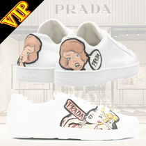 PRADA Round Toe Casual Style Leather Low-Top Sneakers