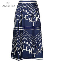 VALENTINO Flared Skirts Silk Medium Elegant Style Midi Skirts