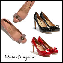 Salvatore Ferragamo Round Toe Plain Leather High Heel Pumps & Mules