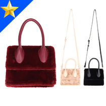 OPEN THE DOOR Casual Style Faux Fur Street Style 2WAY Plain Shoulder Bags