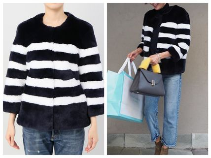 Short Stripes Fur Street Style Cashmere & Fur Coats