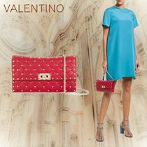 VALENTINO Studded 2WAY Chain Plain Leather Shoulder Bags