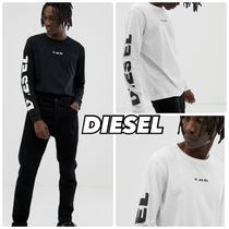 DIESEL Crew Neck Street Style Long Sleeves Plain Cotton