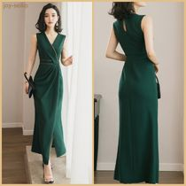Maxi Sleeveless V-Neck Plain Long Dresses