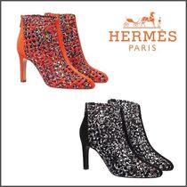 HERMES Other Check Patterns Plain Toe Blended Fabrics Pin Heels