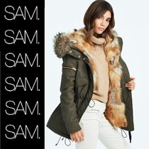 SAM NEW YORK Casual Style Fur Street Style Plain Medium Parkas