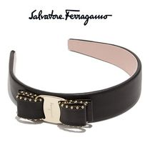 Salvatore Ferragamo Blended Fabrics Studded Leather Brass Elegant Style