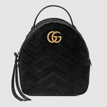 21c62bf185e0 GUCCI GG Marmont Casual Style Suede Chain Plain Backpacks