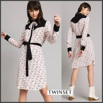 TWIN-SET Long Sleeves Other Animal Patterns Long Elegant Style