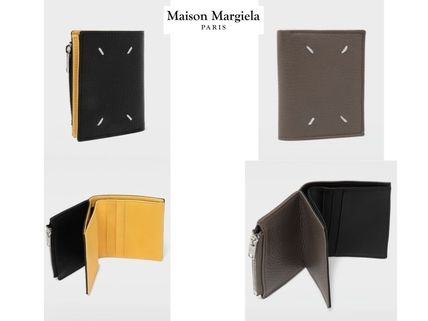Calfskin Street Style Bi-color Plain Folding Wallets