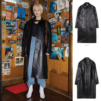 OPEN THE DOOR Unisex Street Style Plain Leather Long Oversized