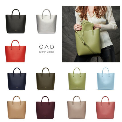 Plain Leather Bold Totes