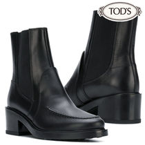 TOD'S Round Toe Plain Leather Block Heels Elegant Style