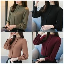 Long Sleeves Plain Office Style Shirts & Blouses