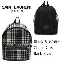 Saint Laurent Other Check Patterns Lambskin Street Style Backpacks