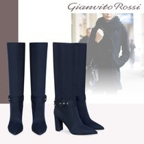 Gianvito Rossi Elegant Style Chunky Heels High Heel Boots
