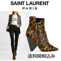 Saint Laurent Niki Leopard Patterns Block Heels Elegant Style