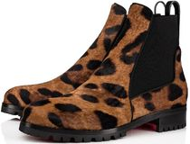 Christian Louboutin Leopard Patterns Plain Toe Block Heels Chelsea Boots